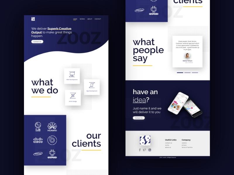 Landing page for design agency minimal web agency creative ui user interface design web design