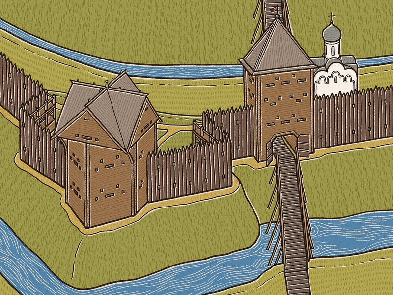 Veliky Novgorod Fortress – The Lesser Walled Fortress novgorod children book bookillustration illistration russia russian medieval stronghold citadel fortress