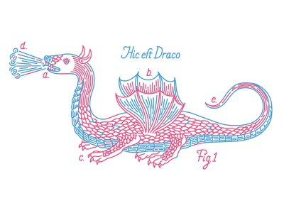 Hic est Draco 2 beast manuscript dragon character history fantasy medieval illustration