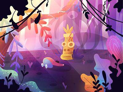 First Shot! demon temple satanic monster textures painting procreate gradient mystic forest jungle