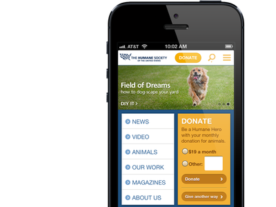 Humane Society's New Mobile Site
