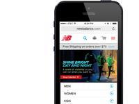 New Balance Mobile Homepage