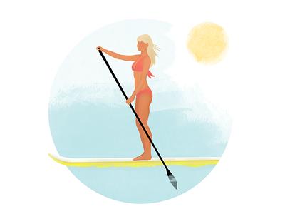 Summertime badge painting paddleboard paddle sea brushes procreate brushes procreate illustraion summertime warmup