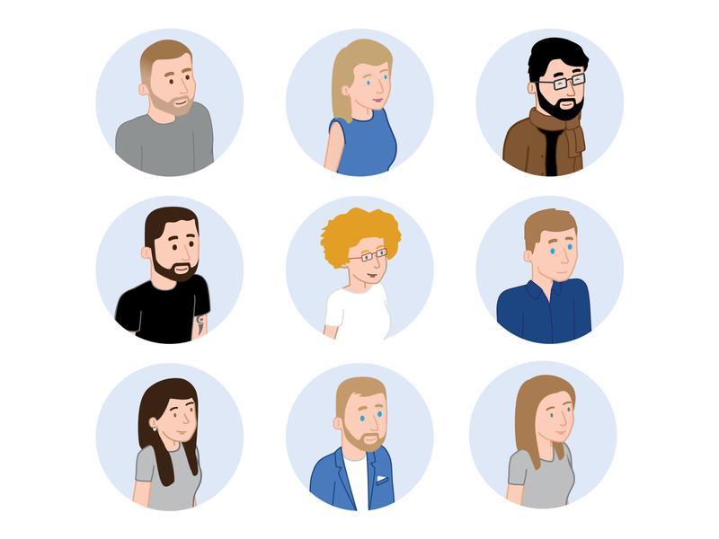 UX/UI Team Avatars vector minimal design illustration ux ui outsystems avatars avatar design persona flat characterdesign