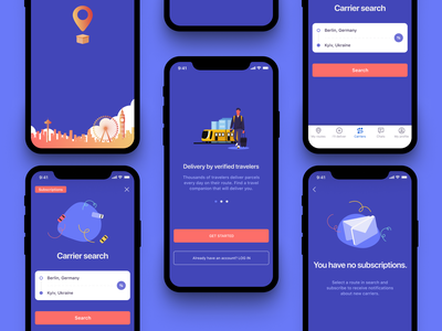 Postal delivery by travelers (App concept) order ui ux interface post carrier traveling travel shipping management parcels shipments delivery app