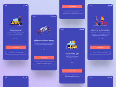 Onboarding walkthrough screens for Travel&Delivery App
