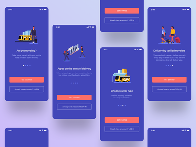 Onboarding walkthrough screens for Travel&Delivery App carrier shipments reservation booking parcels interface delivery app illustration onboarding screen start screens start walkthrough onboarding