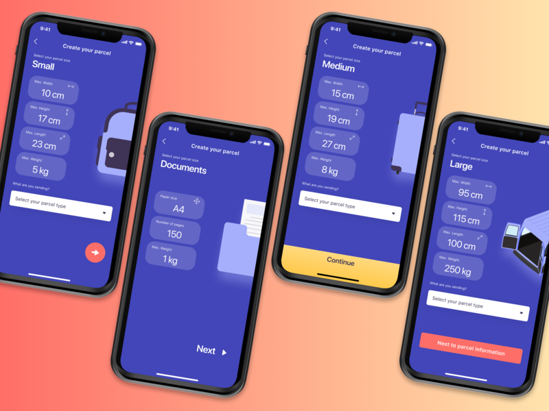Create your parcel (parcel size selection) button design buttons illustration shipping management shipments carrier order parcels delivery app booking