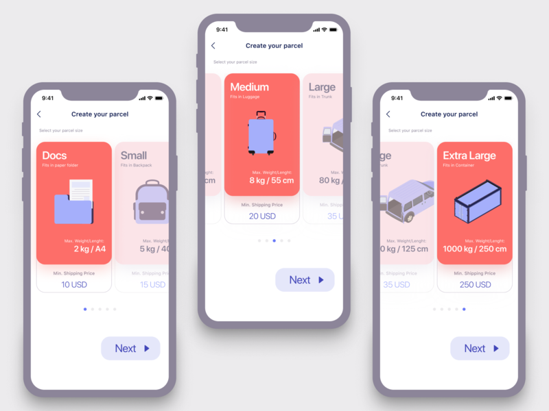 Create your parcel (parcel type selection) bags ui ux illustration traveling design travel shipping management reservation carrier booking interface shipments parcels delivery app