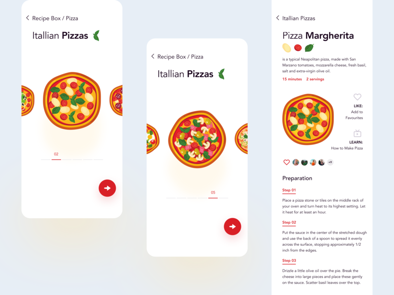 Recipe Box App uidesign ui menu tasty yum food dishes eat delicious preparation mobile pizza cooking recipe