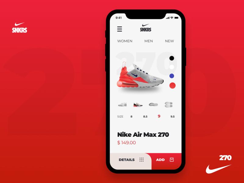 Ecommerce Nike Shoe iOS App 270 nike air max ui mobile ios sneaker shoes nike ecommerce app ecommerce