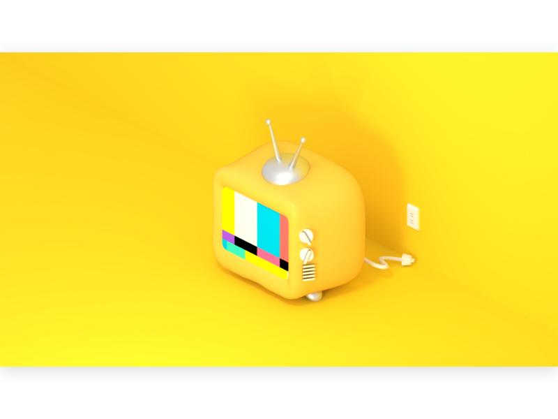 toy TV retro 模型 袖珍 電視 isometric vintage old tube realistic antenna yellow socket un plug no signal miniature cartoon cute design 3d