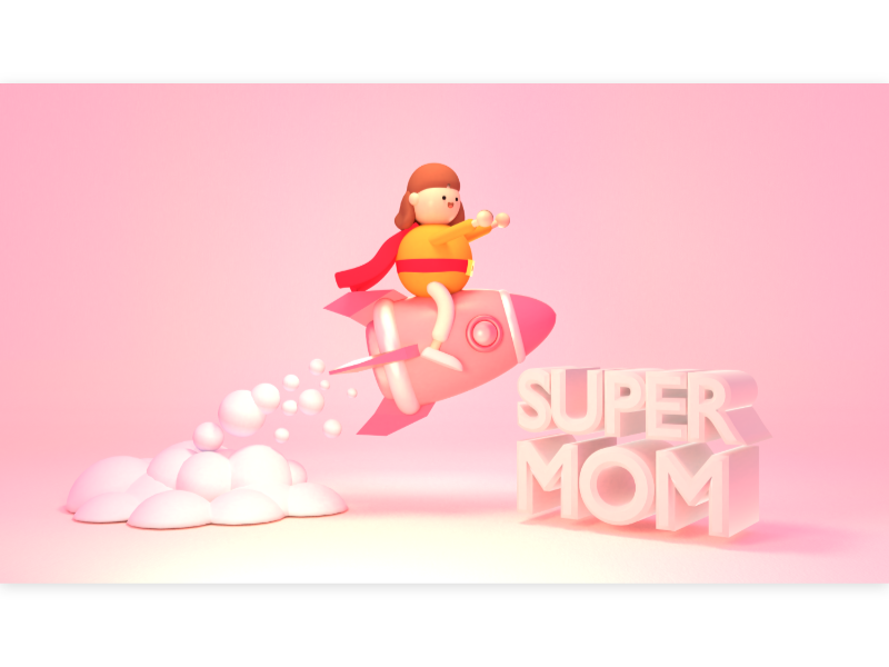 Super Mom pink mother 超人 媽媽 face costume power girl hero woman launch spaceship space rocket sculpture miniature character cute design 3d