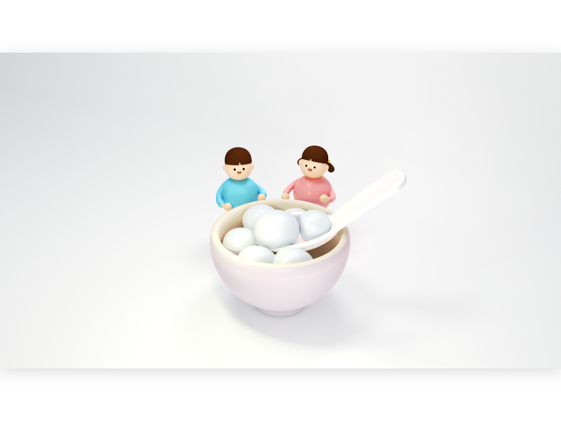 Tangyuan traditional glutinous rice flour cny figurine miniature smile face happy food culture asia 元宵節 湯圓 children holiday character cute 3d
