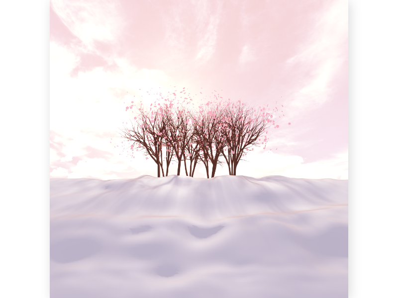 cherry blossom landscape lights ray beam sun shadow silhouette hill tree forest spring winter snow purple pink season