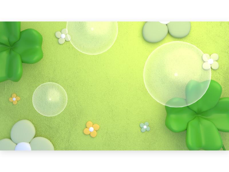 Four-leaf clover spring bubble flower garden field grass plant cute design 3d