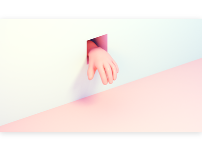 pastel hand through a hole