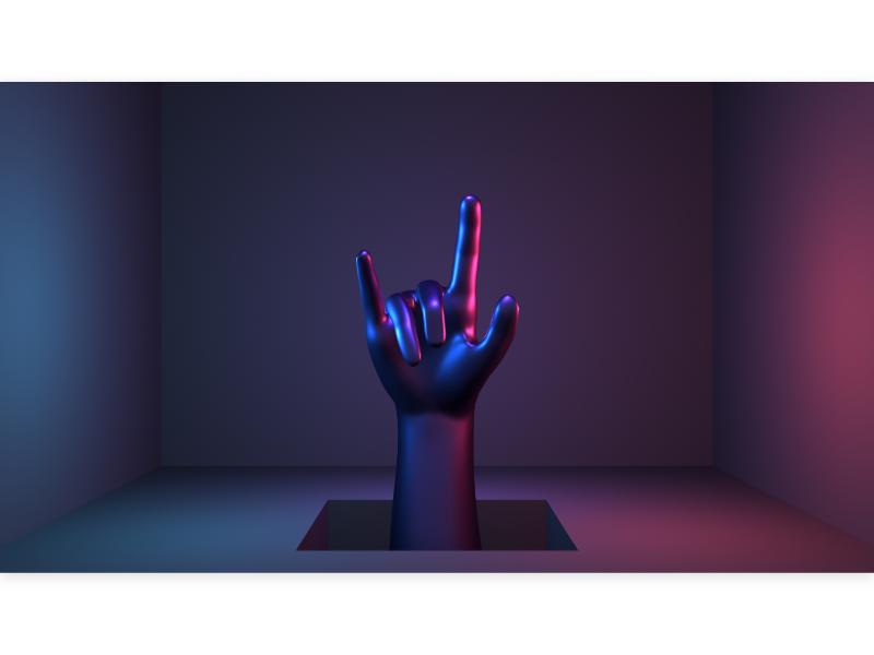 hand sculpture modern pop neon metallic purple symbol sign rocker i love you 3d