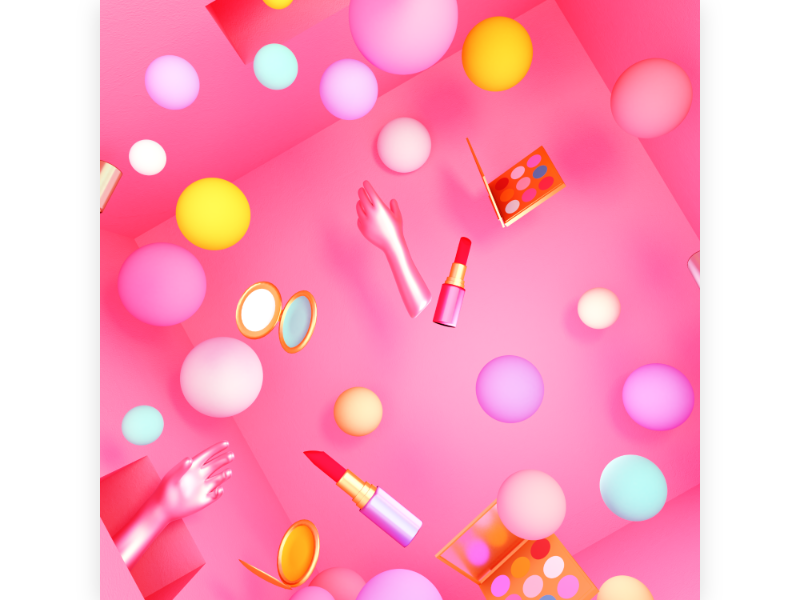 Beauty Makeup indoor shopping room house glamour sphere bubble set product cosmetic cute game play pop power girl pink design 3d