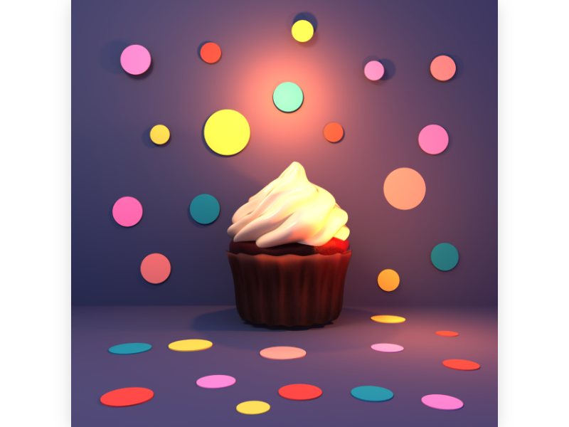 cupcake sweet delicious chocolate forsting creamy muffin party polkadot dessert holiday design 3d