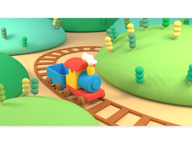 toy train hill tree locomotive railway journey vacation travel outdoor landscape mountain miniature 3d