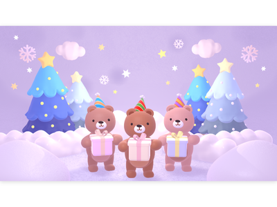 cute merry christmas bears