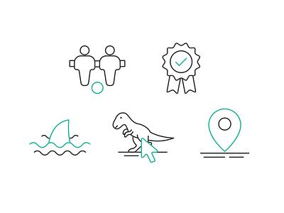 Icons set badge location marker shark click t-rex dinosaur football animal icons icon design