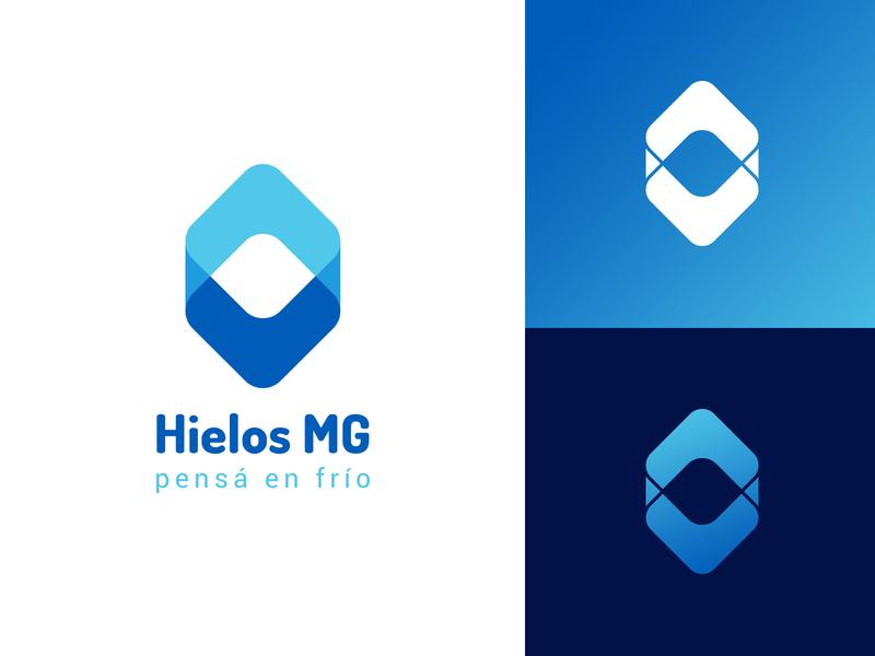 Hielos MG logotype ice factory ice isotipo icon logo branding design
