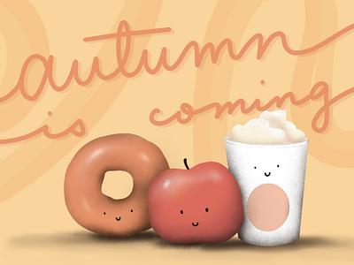 Autumn is Coming seasons calligraphy autumn donut procreate drawing coffee latte pumpkin fall