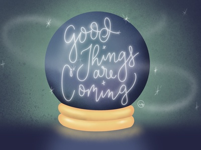 Good Things are Coming quote halloween witchy apple pencil pnw digital art handlettering prototype calligraphy typography illustration crystal ball