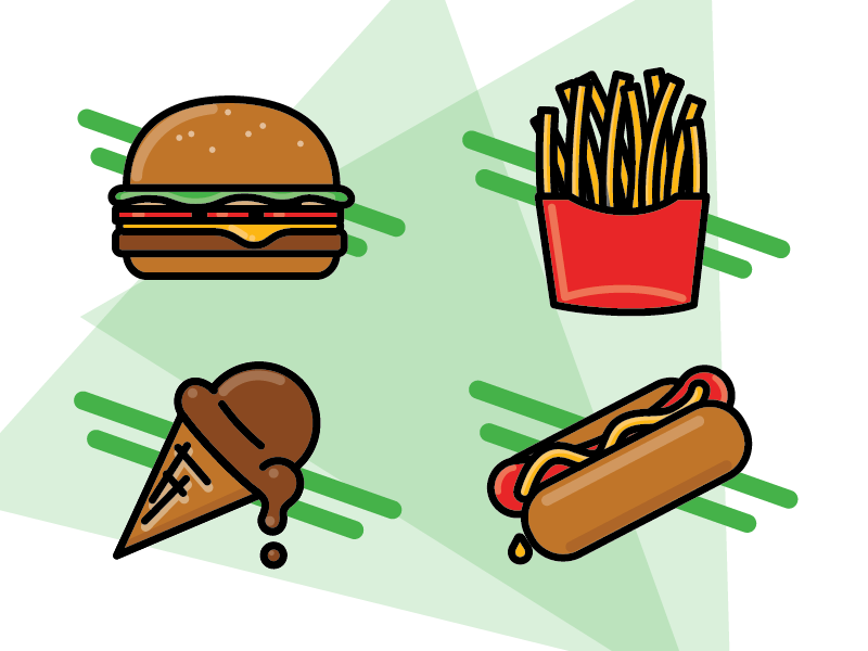 Fast Food Icons illustrator illustration logo fast food fast food icon set icons