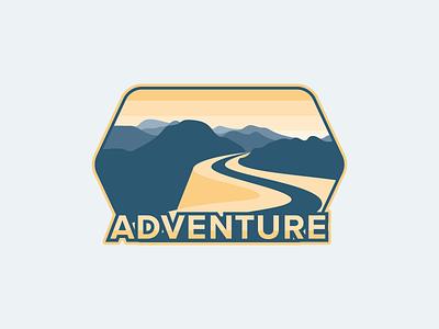 Adventure mountain logotype vector typography yellow icon logo badge flat scenery road adventure