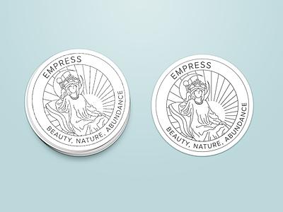 Empress Sticker branding graphic design illustration monoline circle sticker tarot