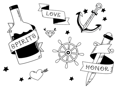 Pirate Tattoos Flash Sheet minimal white black monoline pirate sailor nautical tattoo icon