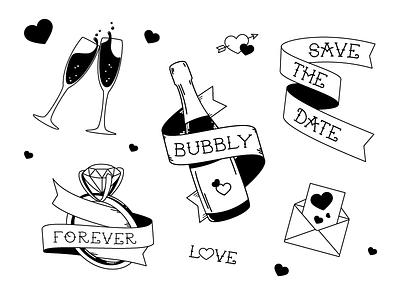 Wedding Flash graphic design design illustrate illustration flash tattoo champagne save the date marriage wedding