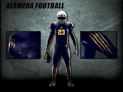 Football Uniform Mock Up athletic gold navy california apparel design mockup jersey football