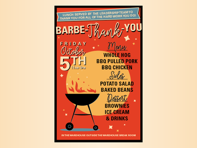Barbe Thank You menu summer bbq event poster