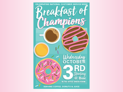Breakfast of Champions graphic design illustration breakfast event poster millenial pink teal pink memphis style semi flat flat design donut