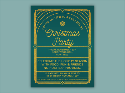 Christmas Party Invitation holiday texture gold teal invitation party simple clean geometric 20s art deco christmas