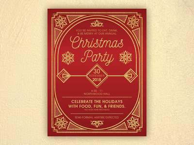 Christmas Party Invite #2 party christmas invitation art deco pnw typography flat design vector illustration