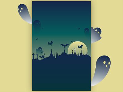 Grim Grinning Ghosts Halloween background halloween design flyer artwork halloween flyer color transition ghost halloween