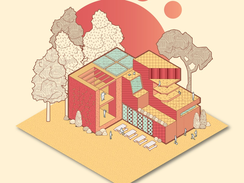 Sunset Liberation axonometric isometric texture pattern branding landscape architecture design architecture visualization architecture vector graphic illustrator drawing doodle colourful inspiration design concept illustration