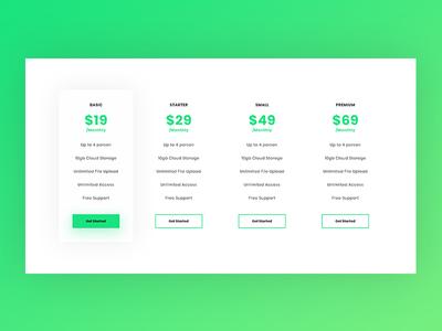 Clean Pricing Table Freebie creative landing page web design ux minimal ui design color website web clean green freebie download