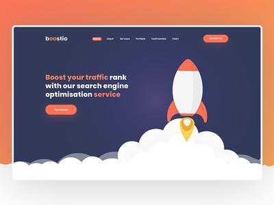 Boostio - Website Design minimal blue design web design seo ux web landing page modern clean ui website creative agency