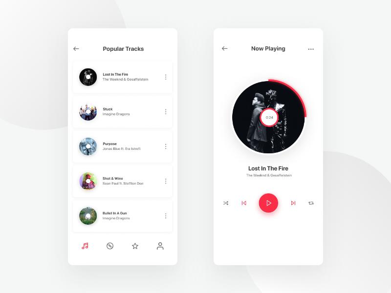Music Application Design Lite Version android ios web design mobile app design mobile ui ux design ui desgin app design app web clean ux design ui