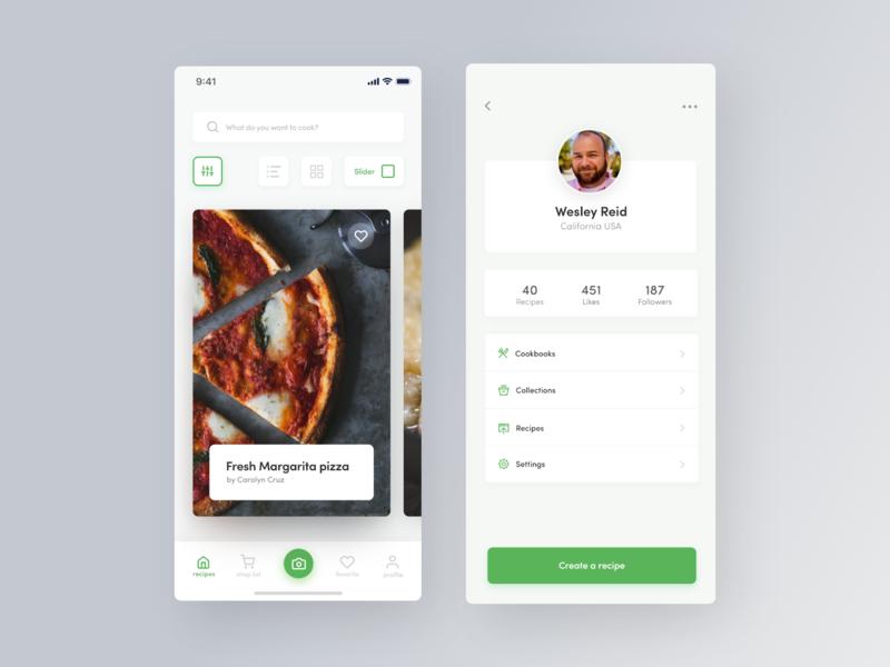 Recipe Application Design 2 recipe app app android ios clean concept creative flat app design web mobile app ux ui