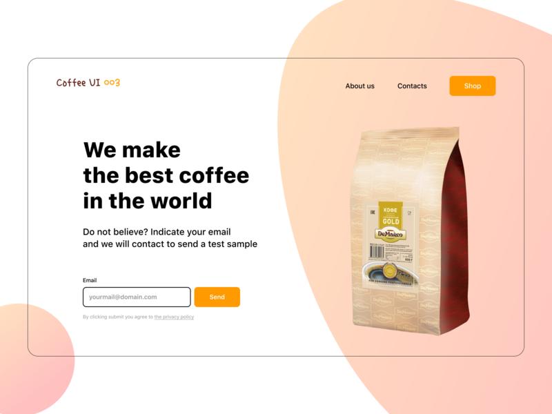 Coffee landing page & Daily UI 003 mainpage form ux ui coffee landingpage design web page landing 003 dailyui dailyui 003
