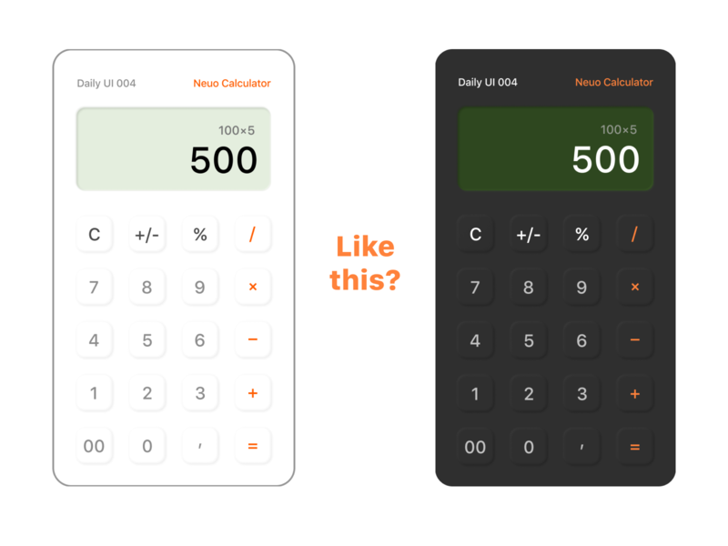 Neuo Calculator & Daily UI 004 neumorphism neuomorphic calculator calculate daily 100 challenge 004 design ux ui dailyui