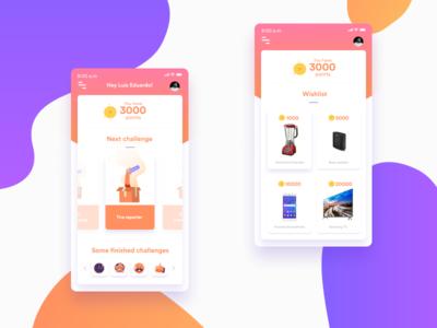 E-commerce proposal sketch menu design vector bogota ui orange purple pink cards challenge wishlist e-commerce app e-comerce e-comm