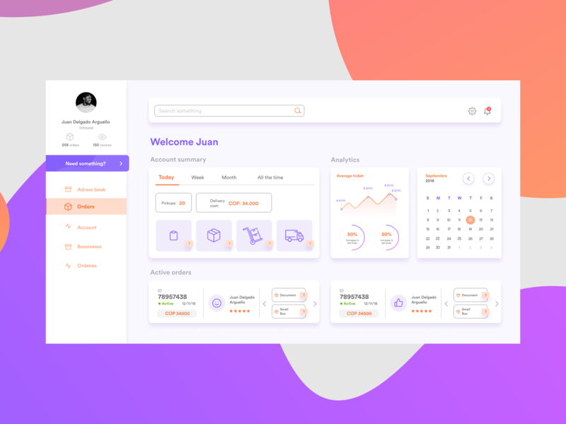 Delivery Dashboard menu design gamification rating desk calendar graphics profile ui grey purple orange desktop figma sketch dashboard delivery